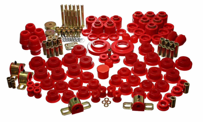 Energy Suspension 2-18106R Bushing Kit, Hyper-Flex, Body Mount / Suspension Bushings, Isolators / Links, Polyurethane / Steel, Red / Cadmium, Jeep Wrangler TJ 1997-2006, Kit