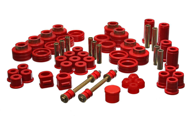 Energy Suspension 3-18101R Bushing Kit, Hyper-Flex, Master Set, Body Mount Suspension Bushings, Boots / Links, Polyurethane / Steel, Red / Cadmium, GM Fullsize Truck 1988-98, Kit