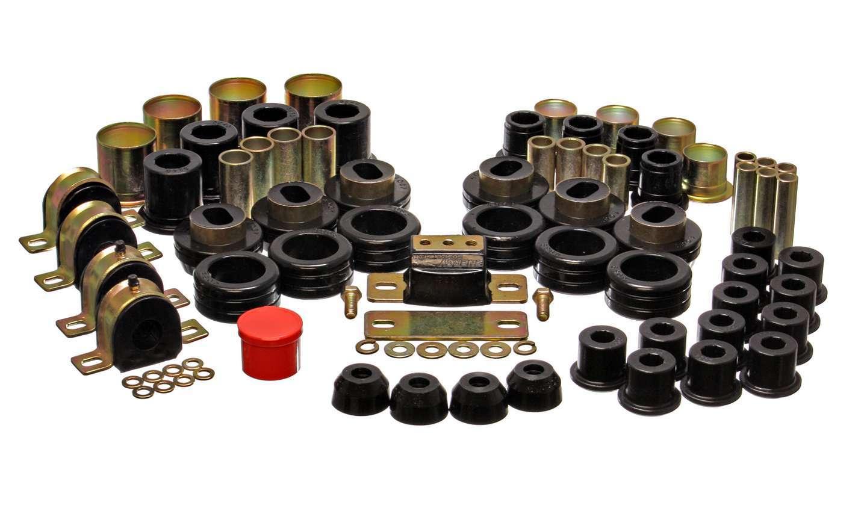 Energy Suspension 3-18108G Bushing Kit, Hyper-Flex System, Body Mount / Suspension Bushings, Boots, Polyurethane, Black, GM Fullsize Truck 1981-87, Kit