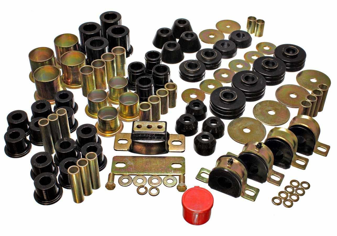 Energy Suspension 3-18109G Bushing Kit, Hyper-Flex System, Body Mount / Suspension Bushings, Boots, Polyurethane, Black, GM Fullsize Truck 1973-80, Kit