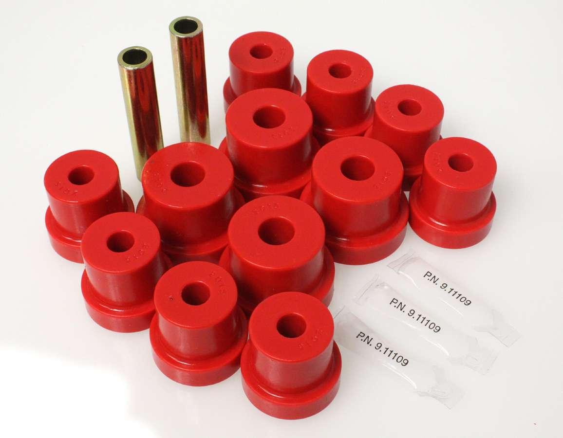 Energy Suspension 3-2103R Leaf Spring Bushing Kit, Hyper-Flex, Rear, Polyurethane / Steel, Red / Cadmium, Multi-Leaf, GM F-Body / X-Body 1968-81, Kit