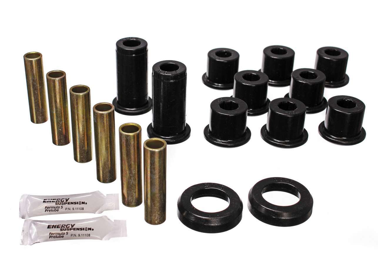 Energy Suspension 3-2129G Leaf Spring Bushing Kit, Hyper-Flex, Rear, Polyurethane / Steel, Black / Cadmium, GM Compact SUV / Truck 1982-2004, Kit