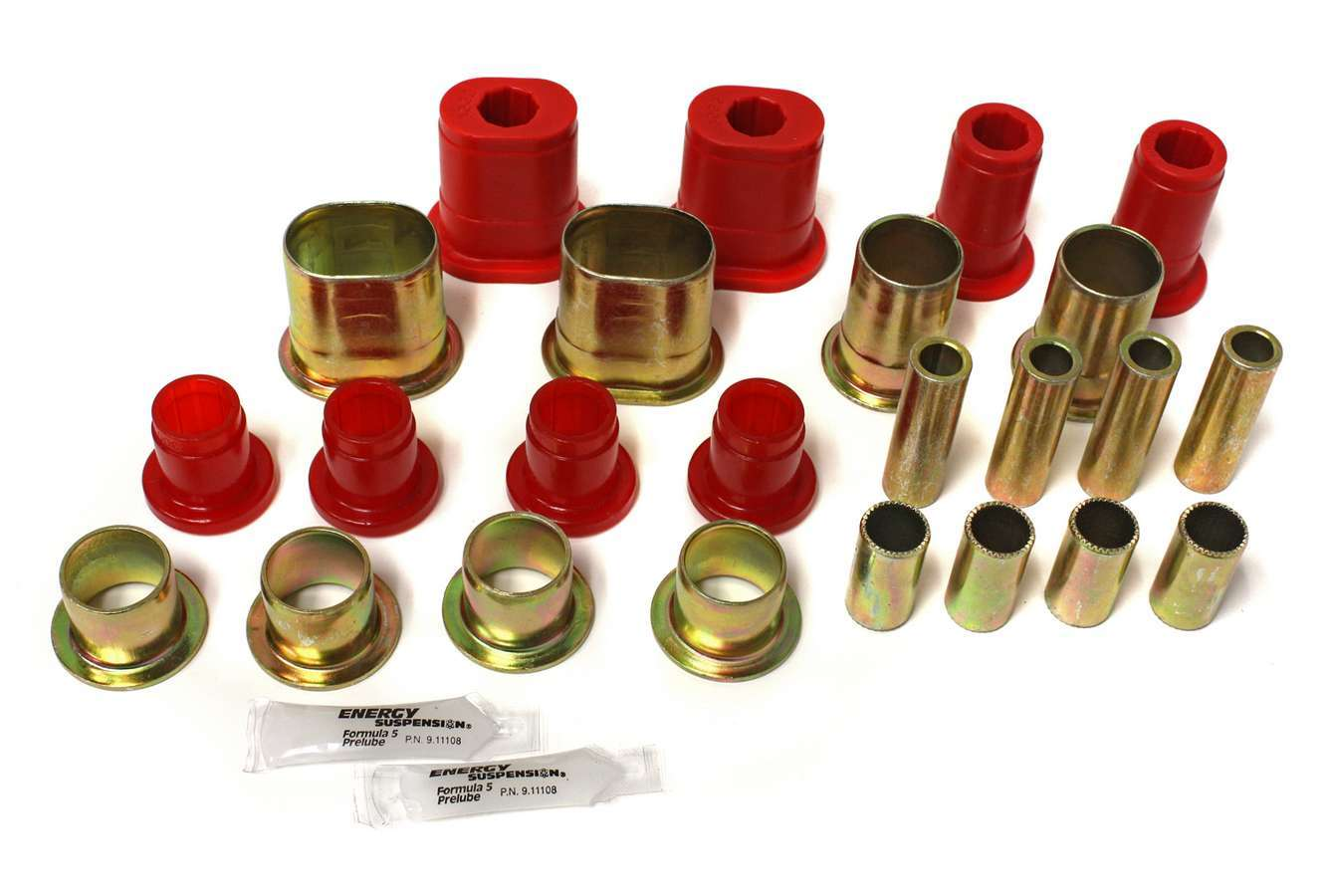 Energy Suspension 3-3172R Control Arm Bushing, Hyper-Flex, Front, Lower / Upper, Polyurethane, Red, GM A-Body 1966-72, Kit