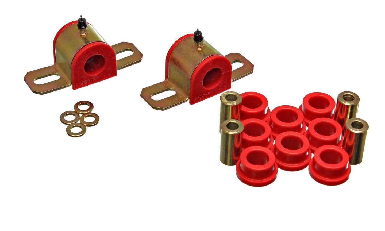 Energy Suspension 3-5205R Sway Bar Bushing, Hyper-Flex, Rear, 22 mm Bar, Polyurethane / Steel, Red / Cadmium, GM Fullsize SUV 1992-99, Kit