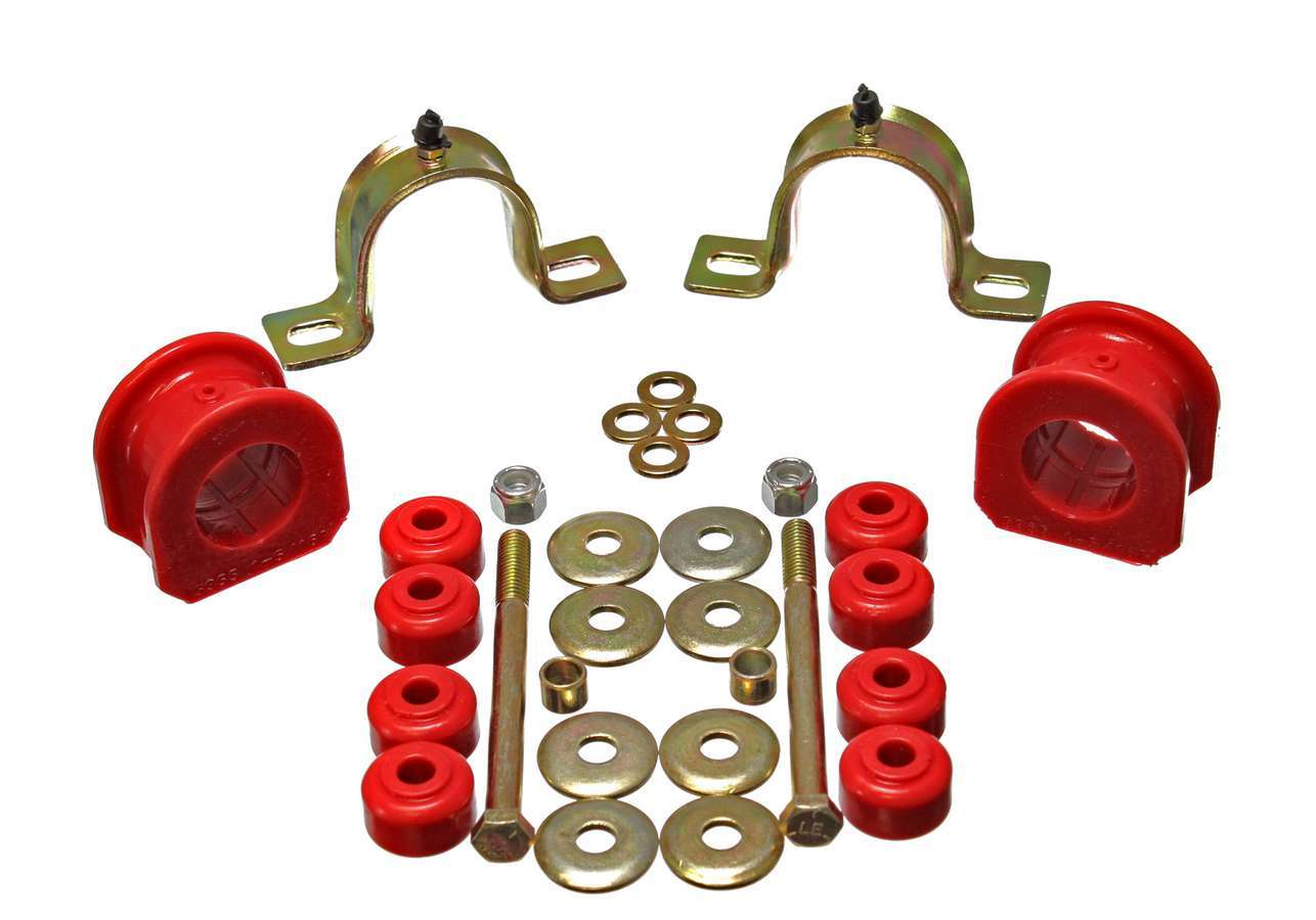 Energy Suspension 3-5207R Sway Bar Bushing, Hyper-Flex, Front, Greaseable, 33 mm Bar, Polyurethane / Steel, Red / Cadmium, GM Compact SUV / Truck 1995-2004, Kit