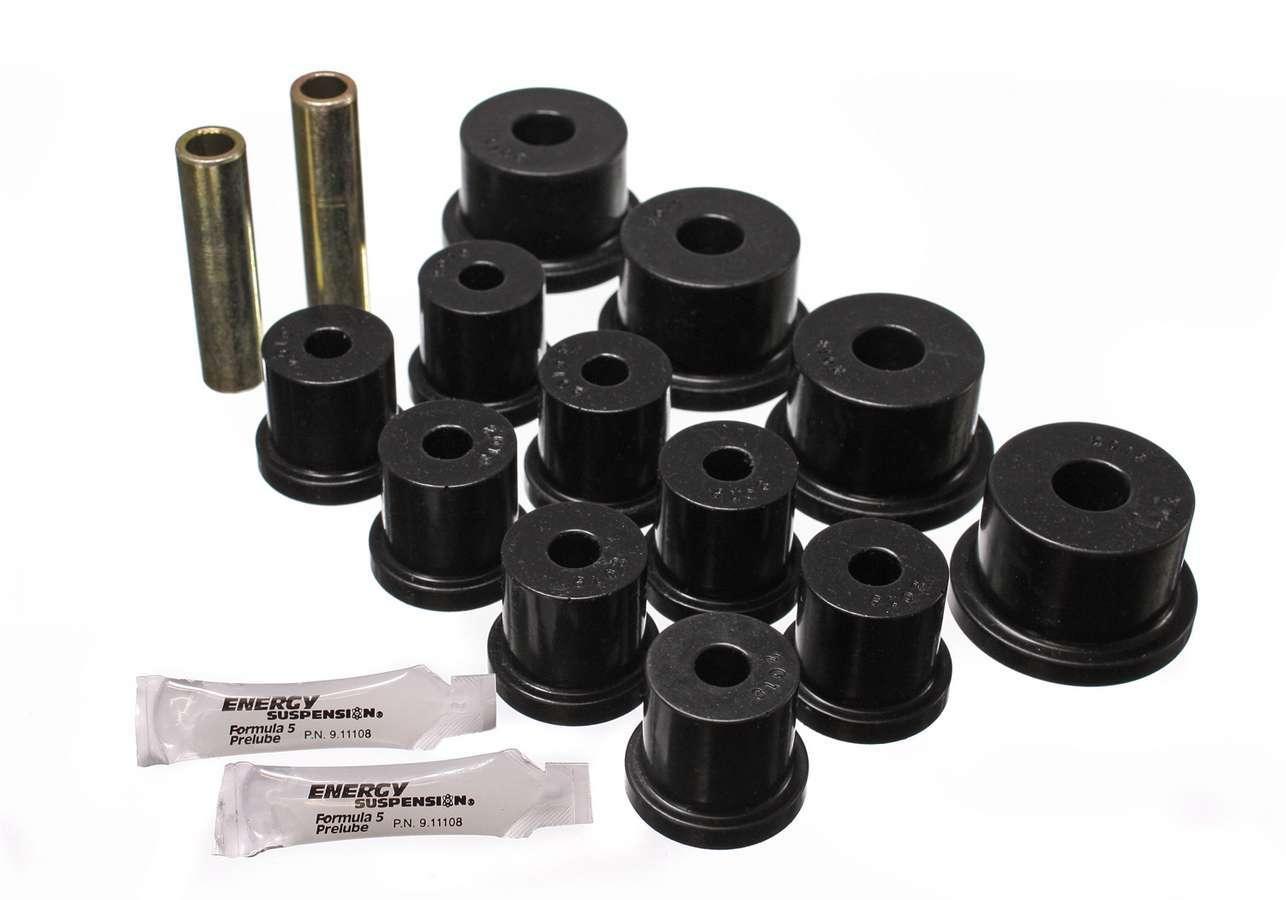 Energy Suspension 4-2101G Leaf Spring Bushing Kit, Hyper-Flex, Rear, Polyurethane / Steel, Black / Cadmium, Ford Mustang 1964-73, Kit
