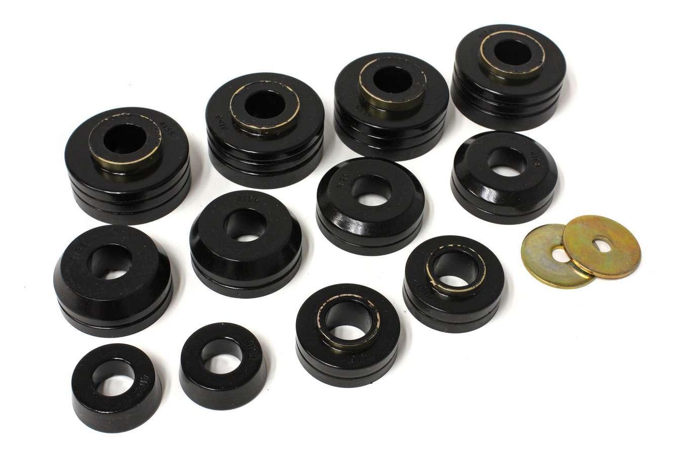 Energy Suspension 4-4104G Body Mount Bushing, Hyper-Flex, Polyurethane / Steel, Black / Cadmium, Ford Fullsize Truck 1965-79, Kit
