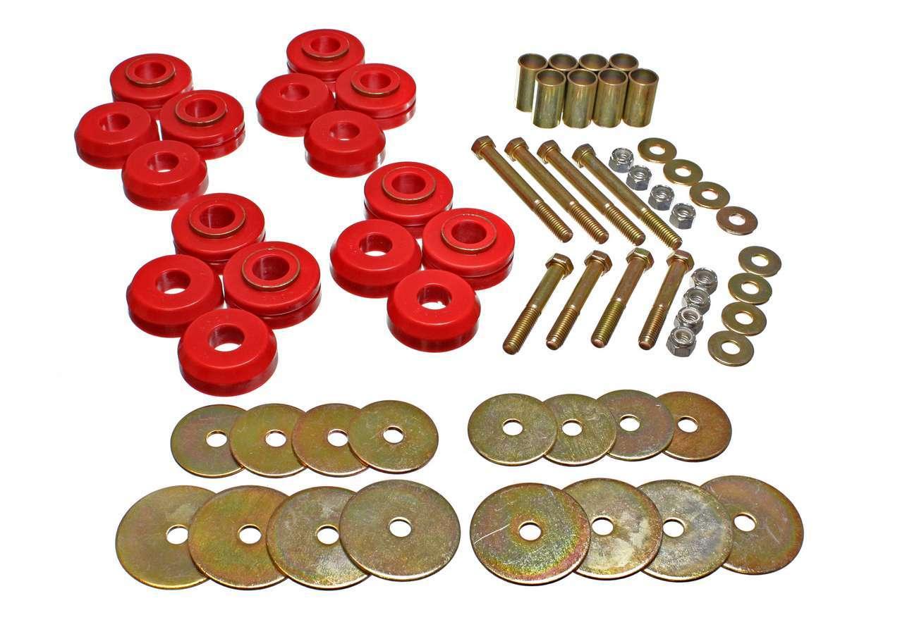 Energy Suspension 4-4110R Body Mount Bushing, Hyper-Flex, Hardware Included, Polyurethane / Steel, Red / Cadmium, Ford Bronco 1966-77, Kit