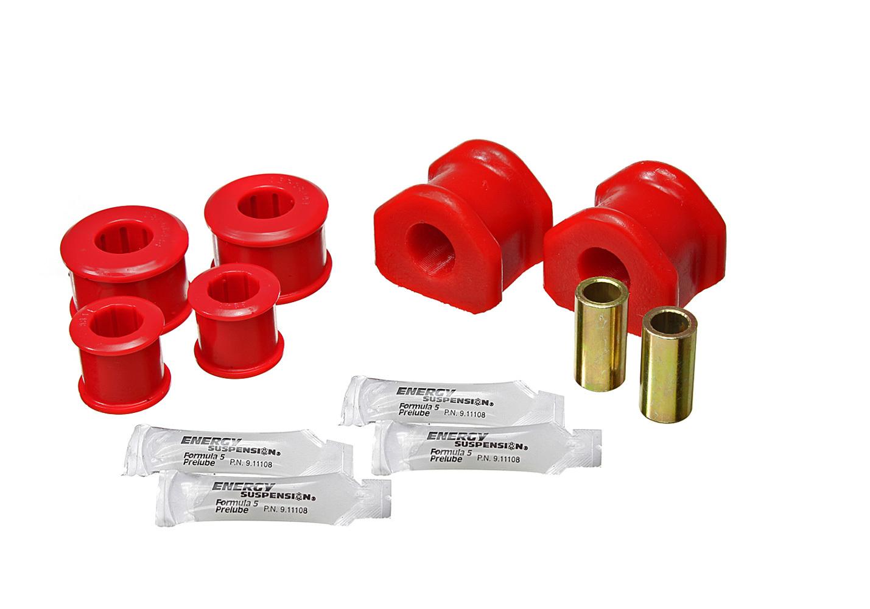Energy Suspension 4-5201R Sway Bar Bushing, Hyper-Flex, Rear, 22 mm Bar, Polyurethane / Steel, Red / Cadmium, Ford Mustang 2011-14, Kit