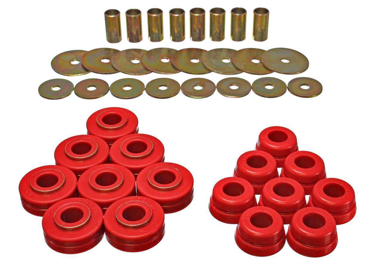 Energy Suspension 6-4101R Bushing Kit, Body Mounts, Hyper-Flex, Polyurethane, Red, International Scout II 1972-79, Kit
