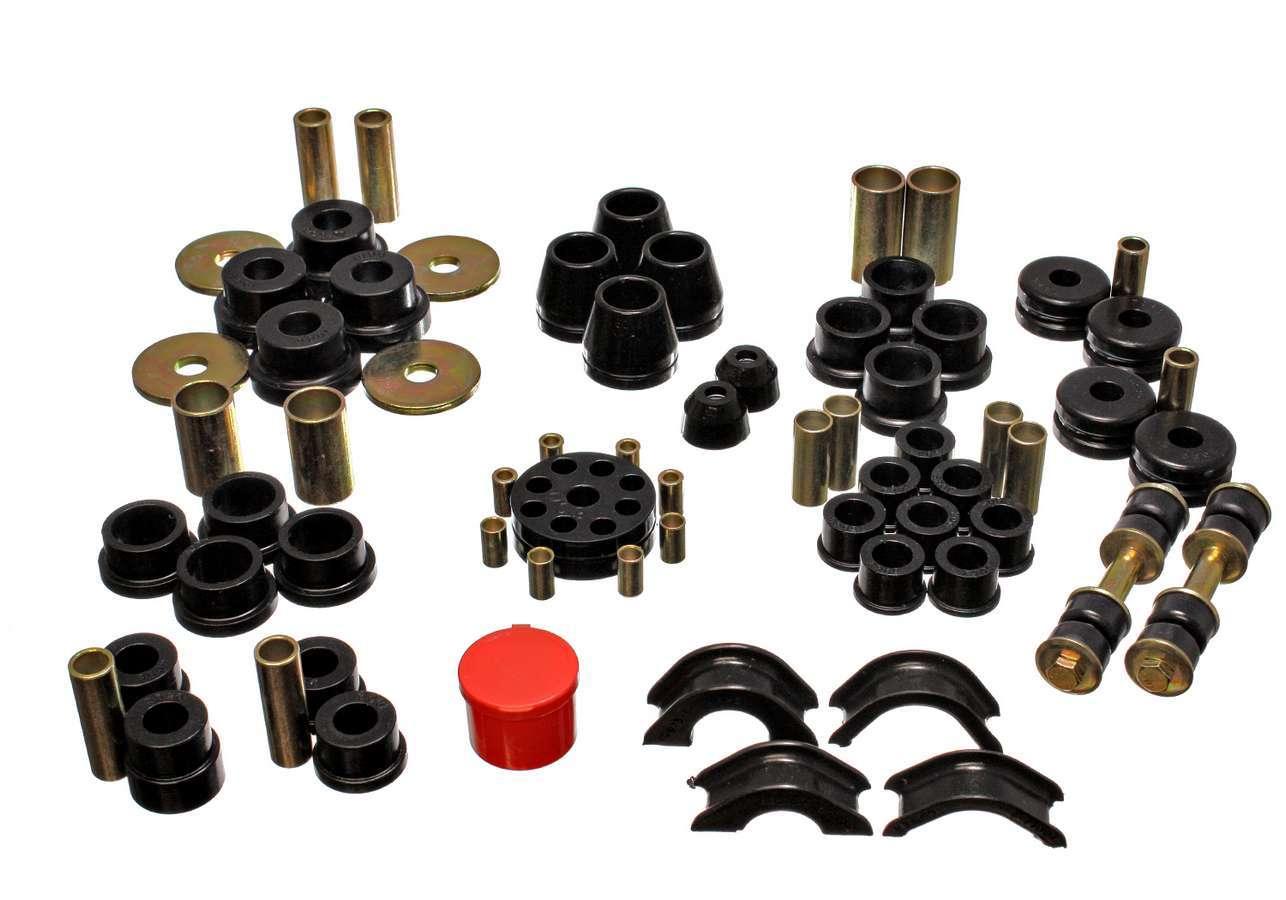 Energy Suspension 7-18101G Bushing Kit, Hyper-Flex System, Suspension Bushings, Control Arm / Strut Rod / Endlinks, Polyurethane, Black, Nissan Z 1970-73, Kit