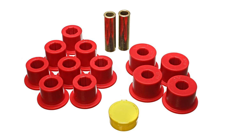 Energy Suspension 7-2103R Leaf Spring Bushing Kit, Hyper-Flex, Rear, Polyurethane / Steel, Red / Cadmium, Nissan Compact Truck 1986-97, Kit
