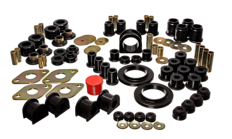 Energy Suspension 8-18104G Bushing Kit, Hyper-Flex, Suspension Bushings, Master Set, Polyurethane / Steel, Black / Cadmium, Toyota Tacoma 1995-2000, Kit