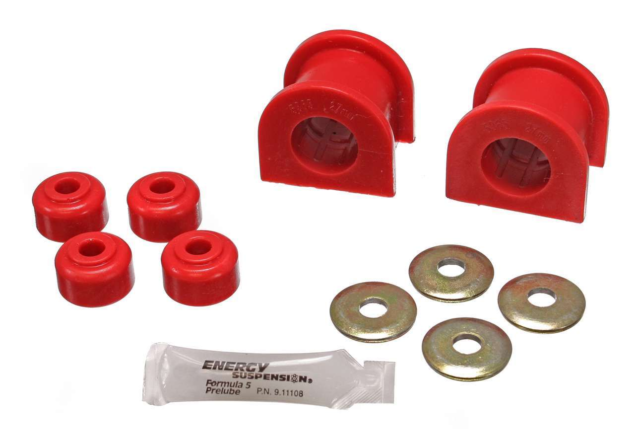 Energy Suspension 8-5118R Sway Bar Bushing, Hyper-Flex, Front, 27 mm Bar, Polyurethane / Steel, Red / Cadmium, Toyota 4Runner / Pickup / Tacoma 1995-2000, Kit