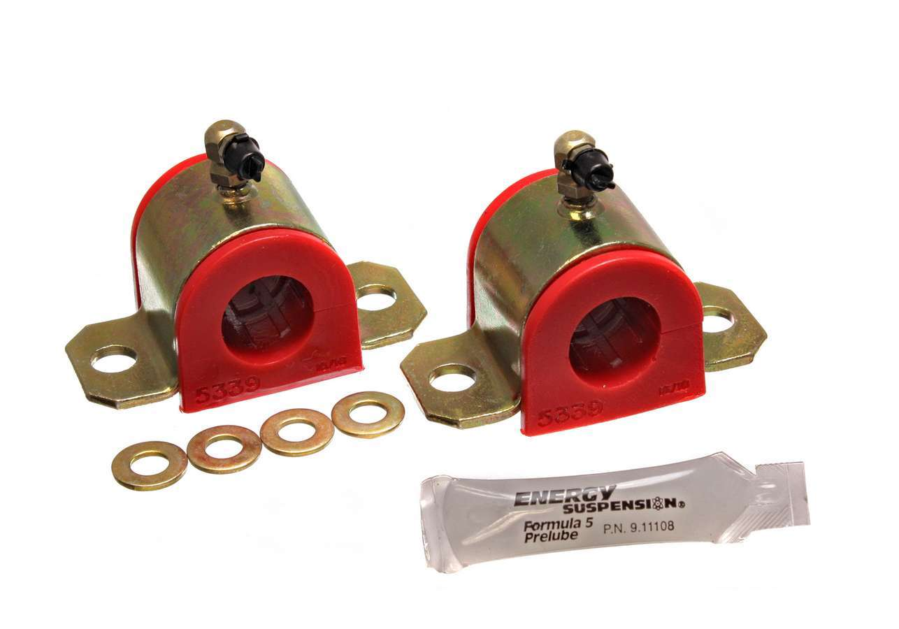 Energy Suspension 8-5128R Sway Bar Bushing, Hyper-Flex, Front, 24 mm Bar, Polyurethane / Steel, Red / Cadmium, Toyota Corolla / Matrix 2003-06, Pair