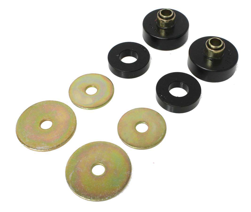 Energy Suspension 9-4101G Isolator Bushing, Hyper-Flex, 1/2 in ID, 2-1/2 in OD, Fits 7/8 in Hole, Polyurethane / Steel, Black / Cadmium, Pair