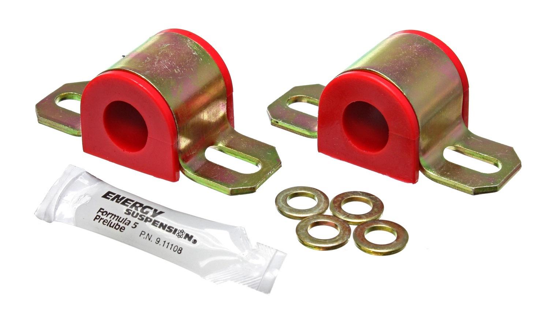 Energy Suspension 9-5124R Sway Bar Bushing, Hyper-Flex, Non-Greasable, 20 mm Bar, Bracket, Polyurethane / Steel, Red / Cadmium, Universal, Pair