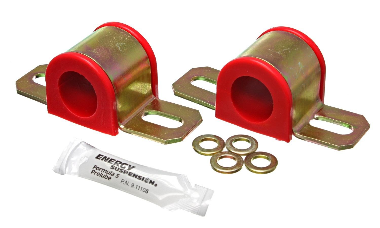 Energy Suspension 9-5130R Sway Bar Bushing, Hyper-Flex, Non-Greaseable, 28 mm Bar, Bracket, Polyurethane / Steel, Red / Cadmium, Universal, Kit