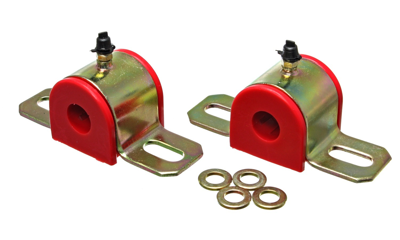 Energy Suspension 9-5154R Sway Bar Bushing, Hyper-Flex, Greaseable, 5/8 in Bar, Bracket, Polyurethane / Steel, Red / Cadmium, Universal, Pair