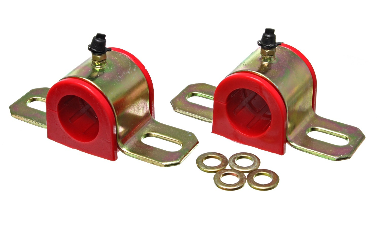 Energy Suspension 9-5163R Sway Bar Bushing, Hyper-Flex, Greaseable, 28 mm Bar, Bracket, Polyurethane / Steel, Red / Cadmium, Universal, Pair