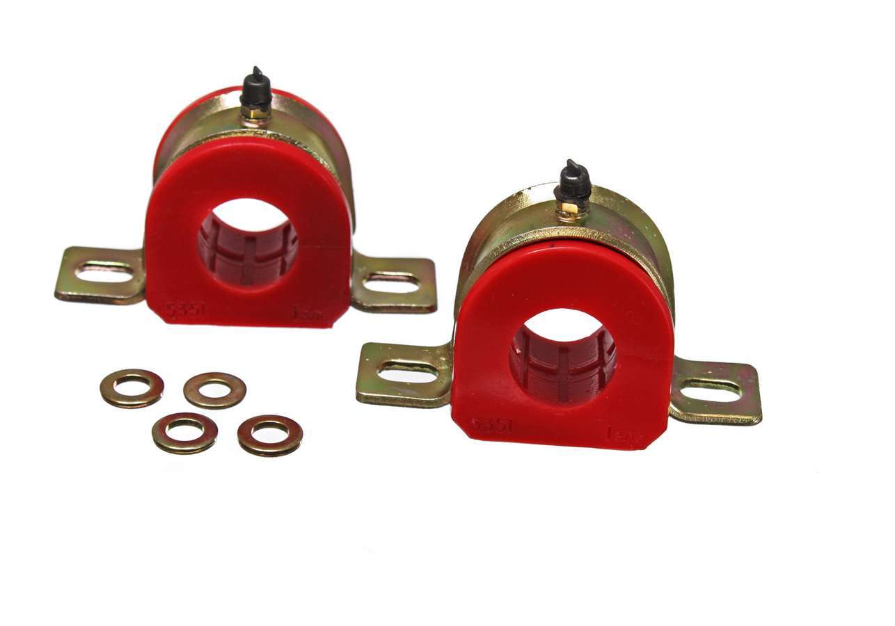 Energy Suspension 9-5173R Sway Bar Bushing, Hyper-Flex, Non-Greasable, 1-3/8 in Bar, Bracket, Polyurethane / Steel, Red / Cadmium, Universal, Pair