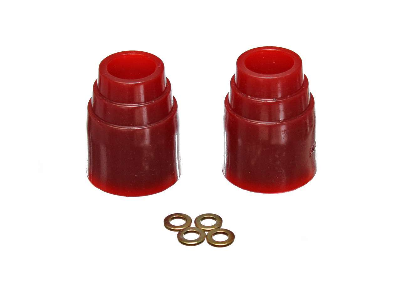 Energy Suspension 9-9143R Bump Stop, Hyper-Flex, 3-1/8 in Tall, 2-7/16 in OD, 3/8 in ID, Polyurethane, Red, Universal, Pair