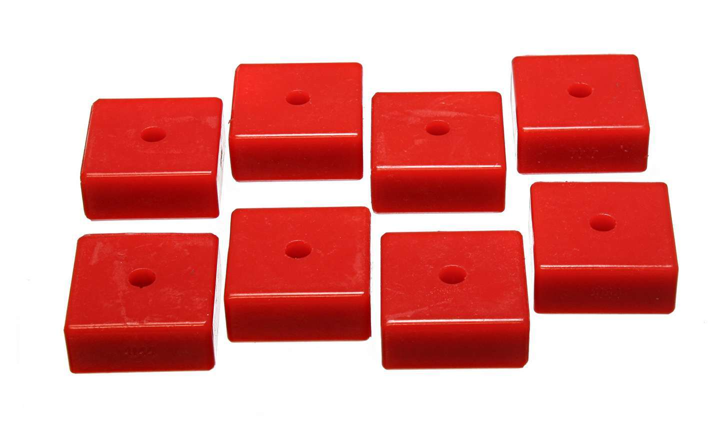 Energy Suspension 9-9535R Bushing Kit, Hyper-Flex, Leaf Spring Pad, 2-1/16 in Square x 3/8 in ID x 15/16 in Height, Polyurethane, Red, Kit