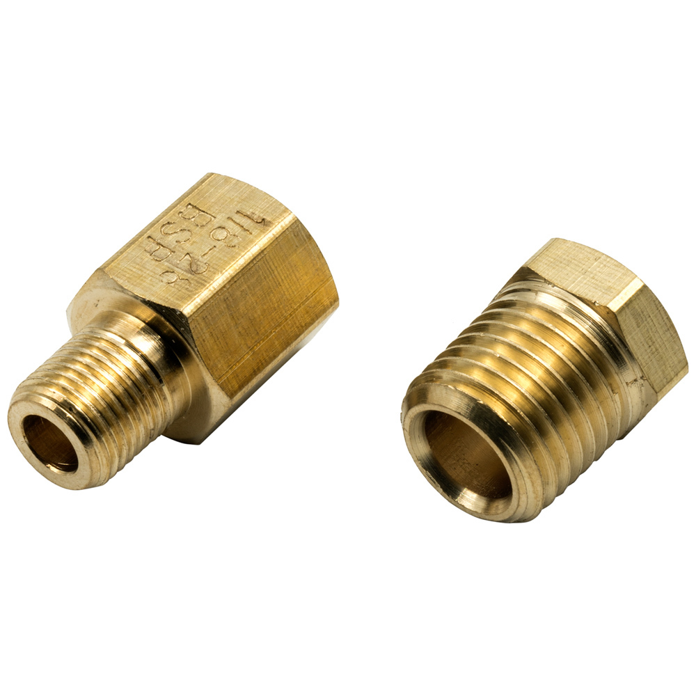 Equus E9841 Fitting, Adapter, Straight, 1/8-27 to 1/4-18 NPT, 1/8-28 NPT to 1/8-28 BSPT, Brass, Natural, Oil Pressure Fittings, Kit