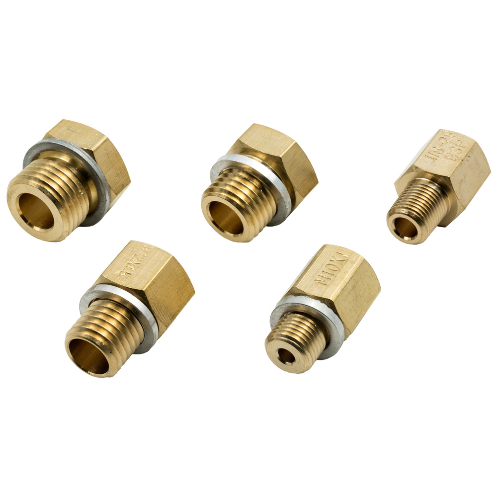 Equus E9848 Fitting, Adapter, Straight, 1/8 NPT Female to 10 mm x 1 Male / 12 mm x 1.5 Male / 14 mm 1.5 Male / 16 mm x 1.5 Male / 1/8-28 BSPT, Brass, Natural, Oil Pressure Fittings, Kit
