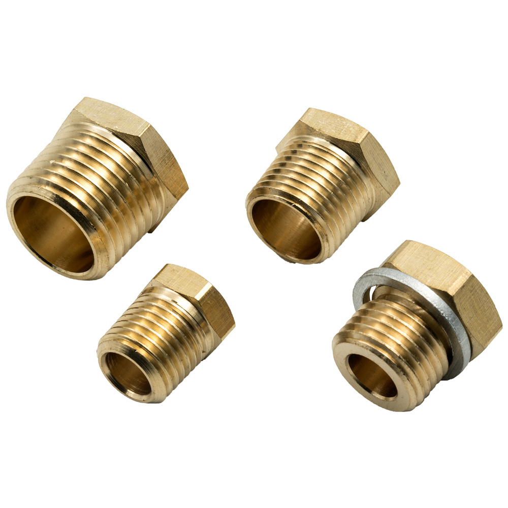 Equus E9861 Fitting, Adapter, Straight, 1/8-27 NPT Female to 3/8-18 NPT / 1/2-14 NPT / 1/4-18 NPT / 16 mm x 1.5, Brass, Natural, Kit