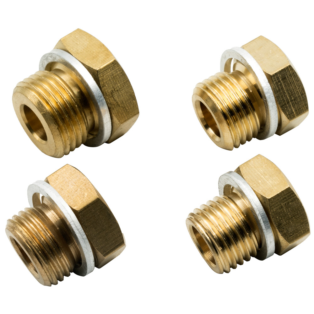 Equus E9862 Fitting, Adapter, Straight, 1/8-27 NPT Female to 14 mm x 1.5 / 16 mm x 1.5 / 18 mm x 1.5, Brass, Natural, Kit