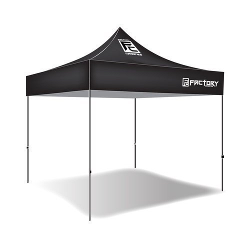 Factory Canopies 30001 Canopy, Pro Grade, 10 x 10 ft, Fire / Water Resistant Black Fabric, Aluminum, White Anodize Frame, Kit