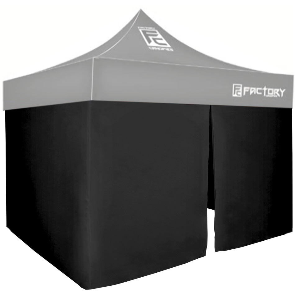 Factory Canopies 40001-KIT Canopy Wall, 3 sides, 10 x 10 ft Canopy, Fire / Water Resistant Fabric, Black, Kit