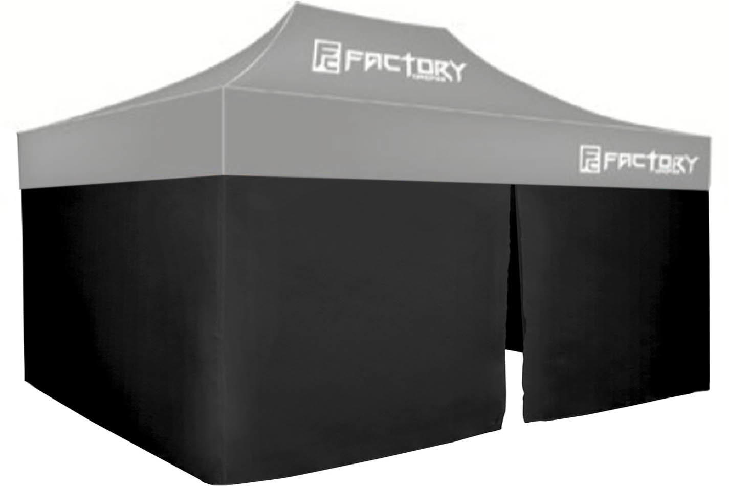 Factory Canopies 41001-KIT Canopy Wall, 3 sides, 10 x 15 ft Canopy, Fire / Water Resistant Fabric, Black, Kit