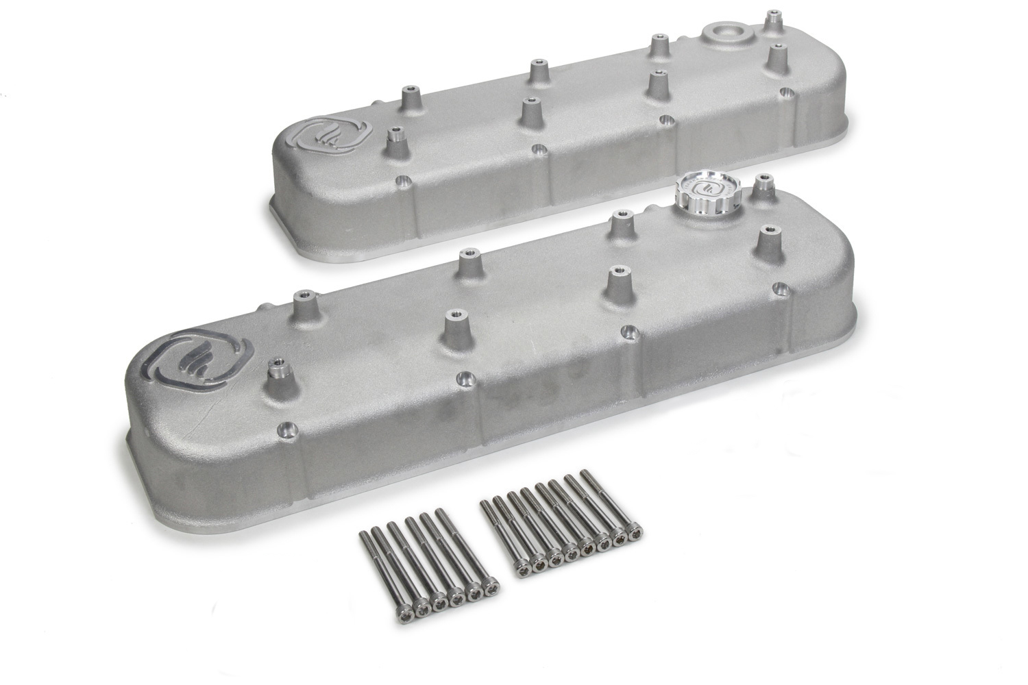 Frankenstein Engine Dynamics 916085 Valve Cover, F-Series, Coil Mounts, Aluminum, Natural, GM LS-Series, Pair