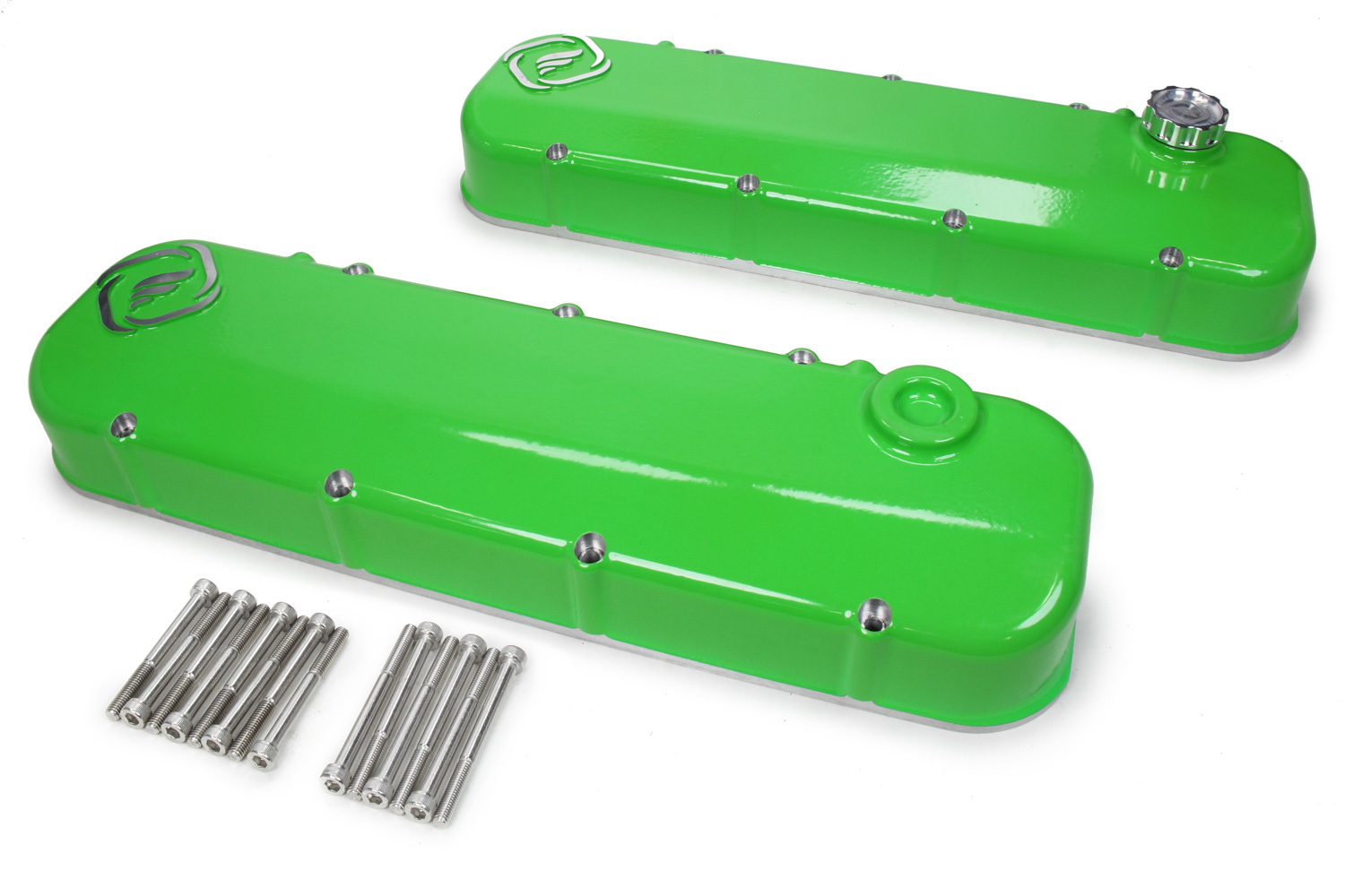Frankenstein Engine Dynamics 916087 Valve Cover, F-Series, Aluminum, Green Powder Coat, GM LS-Series, Pair