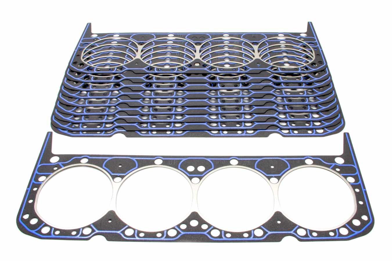 Fel-Pro 1010B Cylinder Head Gasket, 4.166 in Bore, 0.039 in Compression Thickness, Steel Core Laminate, Small Block Chevy, Set of 10