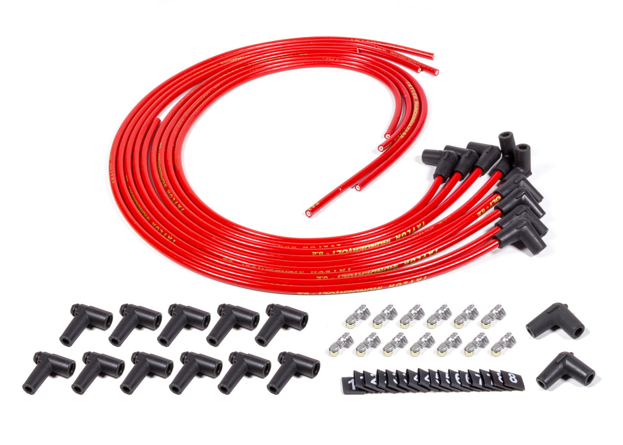 Fuel Injection Enterprises SUPP90-R Spark Plug Wire Set, Suppression Core, 8.2 mm, Red, 90 Degree Plug Boots, HEI Style Terminal, Cut to Fit, V8, Kit