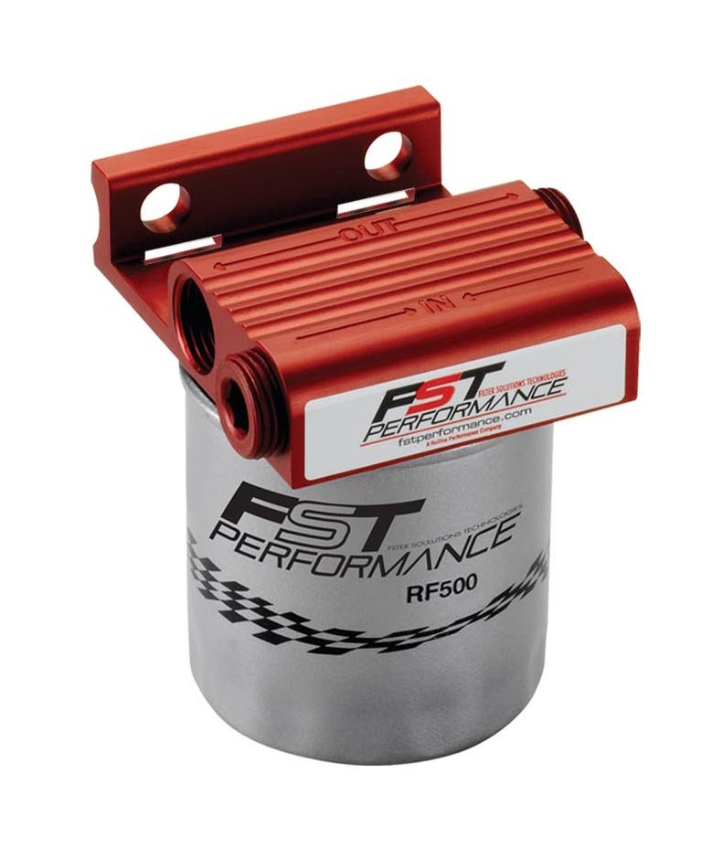FST Performance RPM300 Fuel Filter, Flomax 300, Canister, 4 Micron, Stainless Element, 1/2 in NPT Female Inlet, 1/2 in NPT Female Outlet, 300 gph, Aluminum, Red Anodize, Each