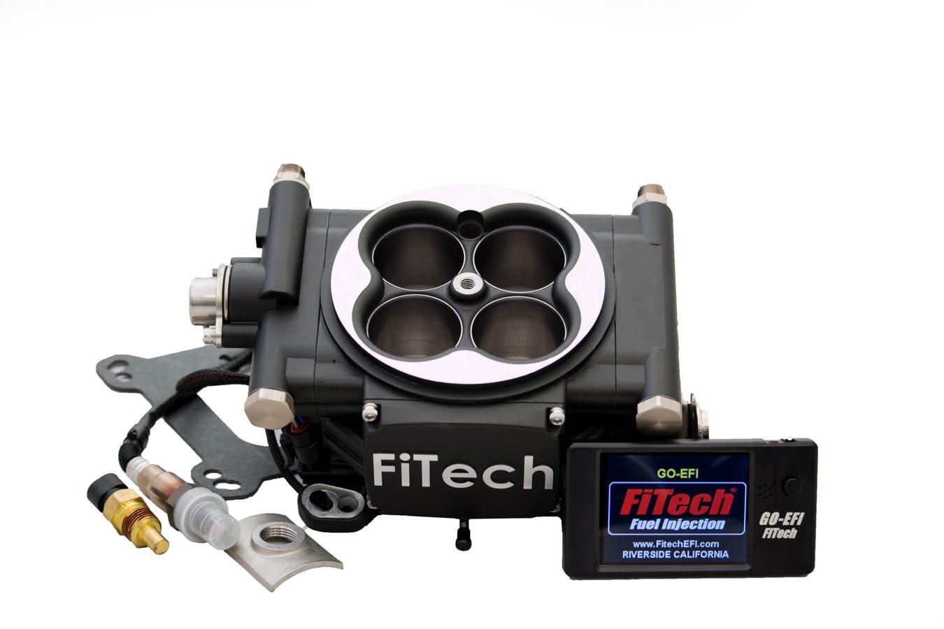 Fitech Fuel Injection 30002 Fuel Injection, Go EFI 4, Throttle Body, Square Bore, 70 lb/hr Injectors, Aluminum, Black Anodize, Universal, Kit