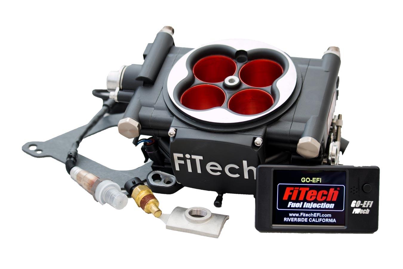 Fitech Fuel Injection 30004 Fuel Injection, Go EFI 4 Power Adder, Throttle Body, Square Bore, 70 lb/hr Injectors, Nitrous Control, Aluminum, Black Anodize, Universal, Kit