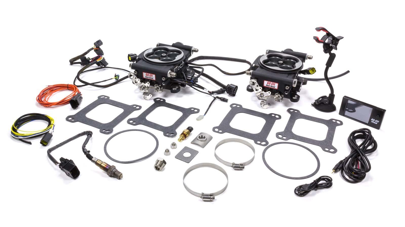 Fitech Fuel Injection 30062 Fuel Injection, Go EFI 2x4, Throttle Body, Square Bore, 70 lb/hr Injectors, Aluminum, Black Anodize, Universal, Kit
