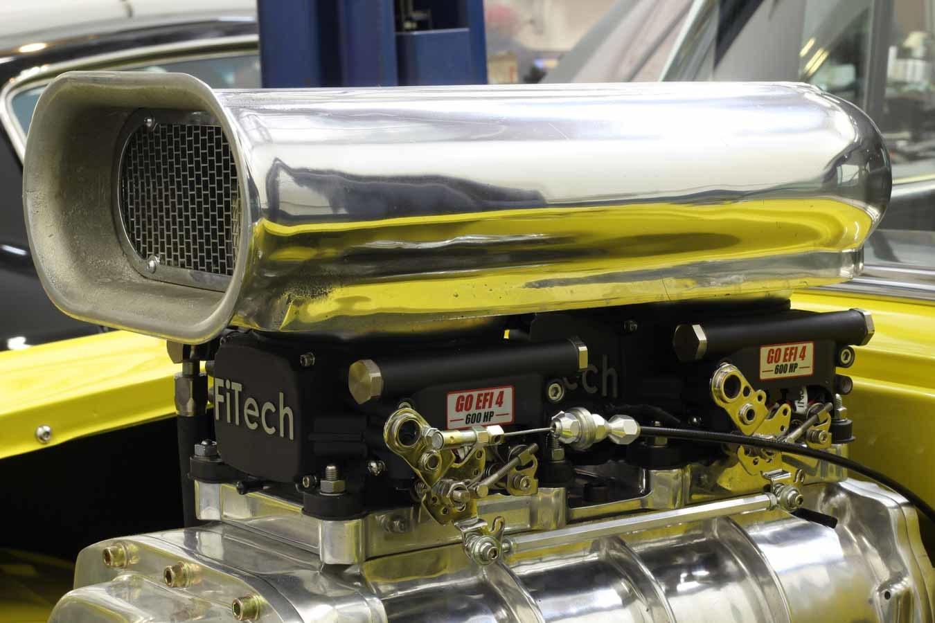 Fitech Fuel Injection 30064 Fuel Injection, Go EFI 2x4 Power Adder, Throttle Body, Square Bore, 70 lb/hr Injectors, Aluminum, Black Anodize, Universal, Kit