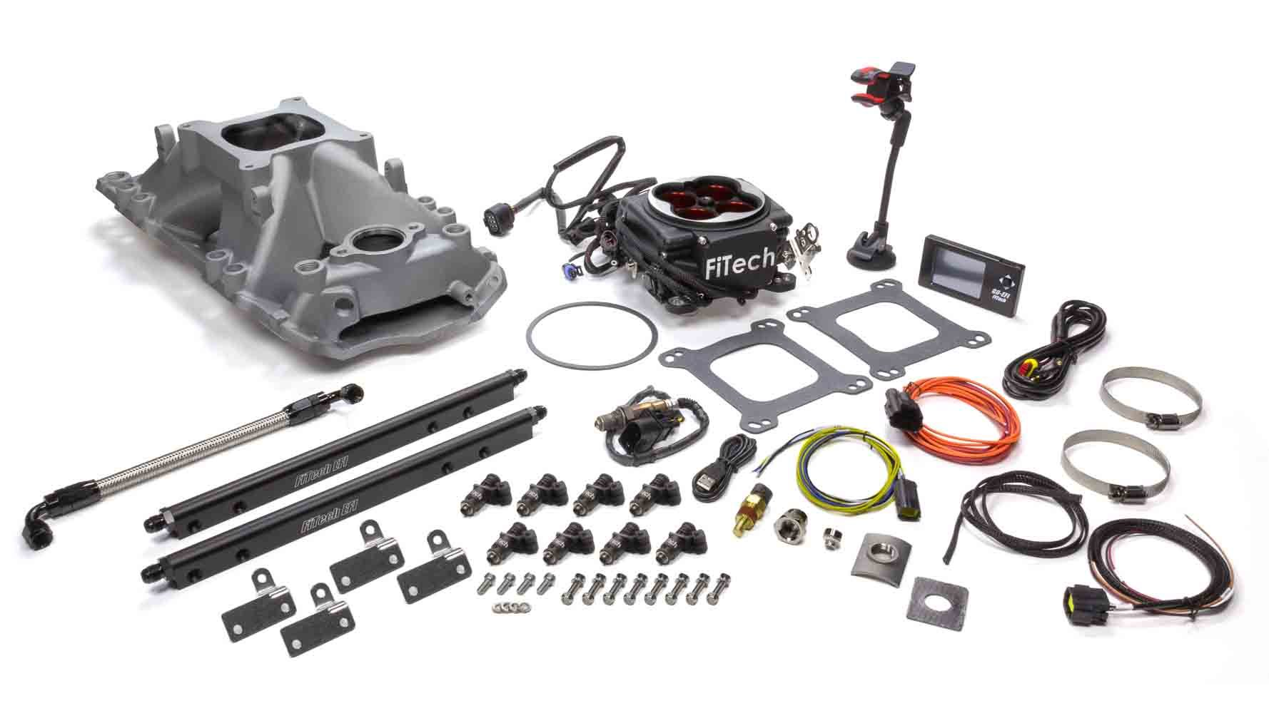 Fitech Fuel Injection 37854 Fuel Injection, Go Port EFI, Multi Port, 42 lb/hr Injectors, 900 CFM, Aluminum, Black Anodize, Small Block Chevy, Kit