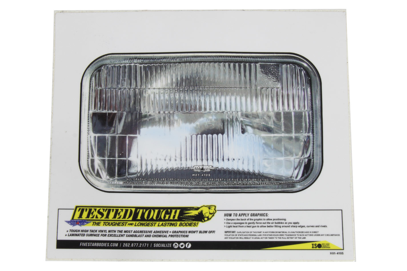 Univer. Headlight Decal 5.62in x  3.25in