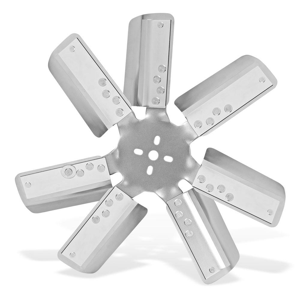 Flex-A-Lite 101571 Mechanical Cooling Fan, Flex Fan, 18 in Fan, 7 Blade, 5/8 in Pilot, 1-3/4 to 2-1/2 in Bolt Pattern, Steel Hub / Stainless Blades, Silver / Natural, Each