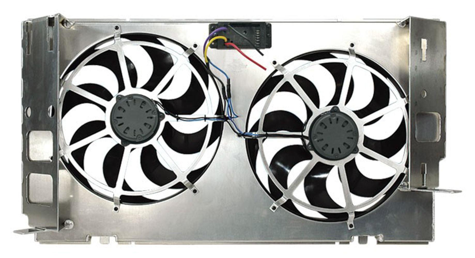 Flex-A-Lite 103961 Electric Cooling Fan, Direct-Fit, Dual 15 in Fan, Puller, 5500 CFM, Curved Blade, Controller, Aluminum Shroud, Dodge Cummins, Dodge Fullsize Truck 1994-2002, Kit