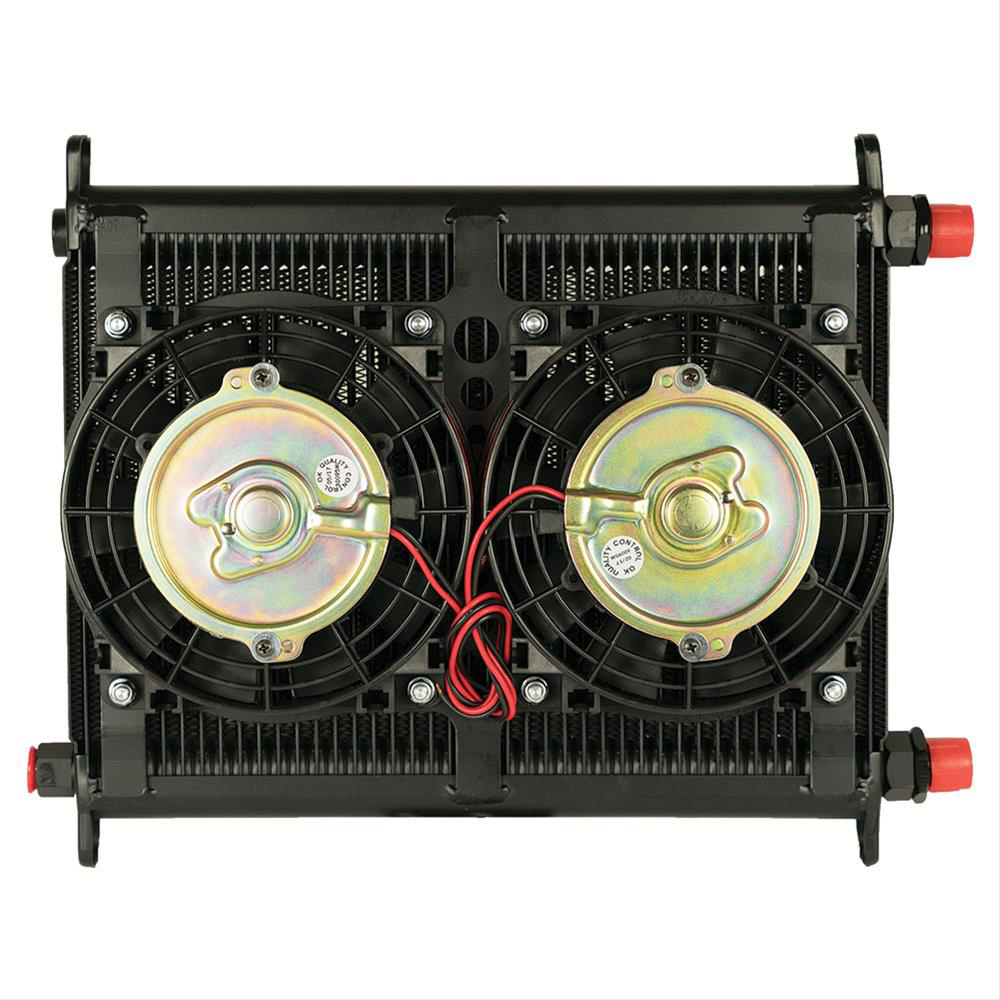Flex-A-Lite 104118 Fluid Cooler and Fan, 11 x 14 x 4-1/4 in, Plate Type, 40 Row, 10 AN Female O-Ring Inlet / Outlet, 10 AN Male Adapter, Fittings / Mounts / Temperature Switch Included, Aluminum, Black Paint, Engine Oil, Kit