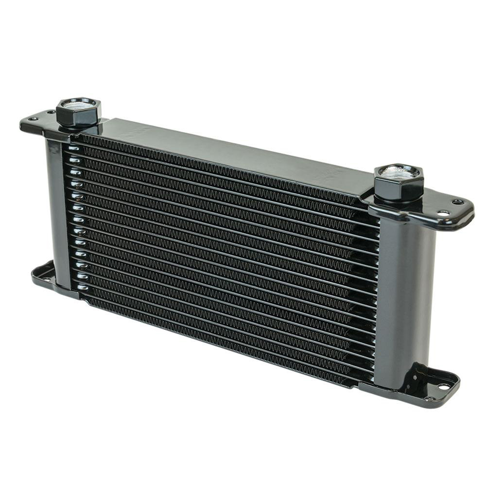 Flex-A-Lite 104120 Fluid Cooler, 11 x 7-1/2 x 1-3/4 in, Plate Type, 21 Row, 10 AN Female O-Ring Inlet / Outlet, 10 AN Male Adapter, Fittings Included, Aluminum, Black Paint, Engine Oil, Each
