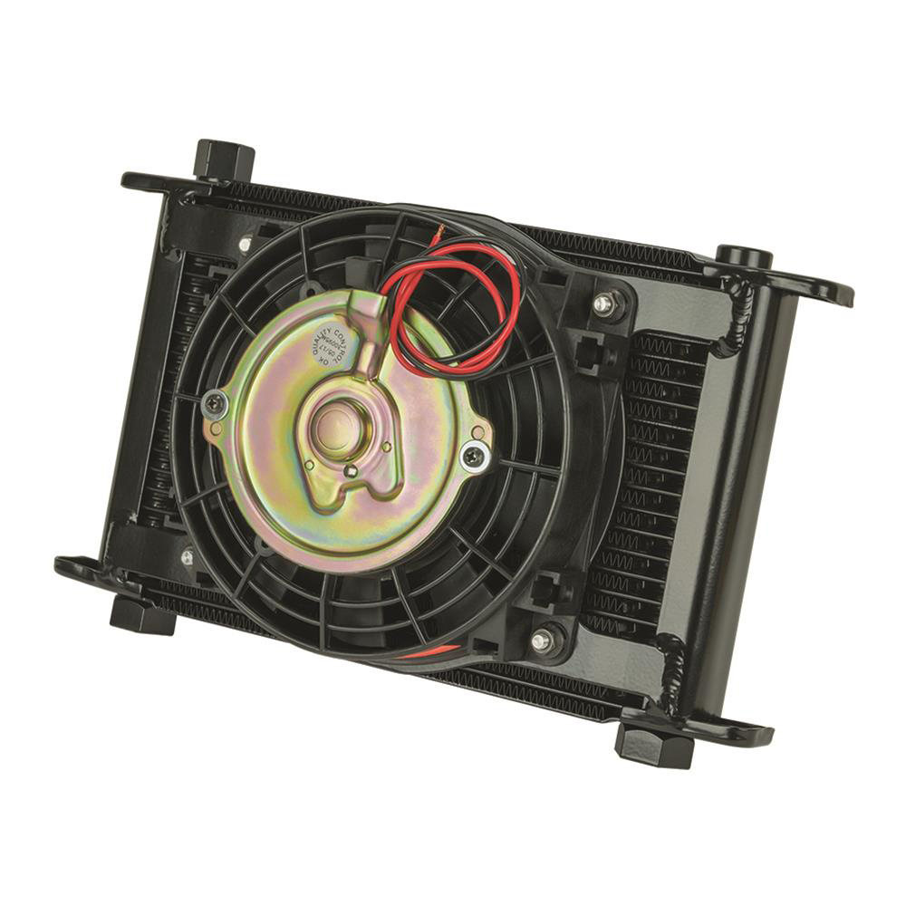 Flex-A-Lite 104121 Fluid Cooler and Fan, 11 x 7-1/2 x 4-1/4 in, Plate Type, 10 AN Female O-Ring Inlet / Outlet, 10 AN Male Adapter, Fittings / Mounts / Temperature Switch, Aluminum, Black Paint, Engine Oil, Kit